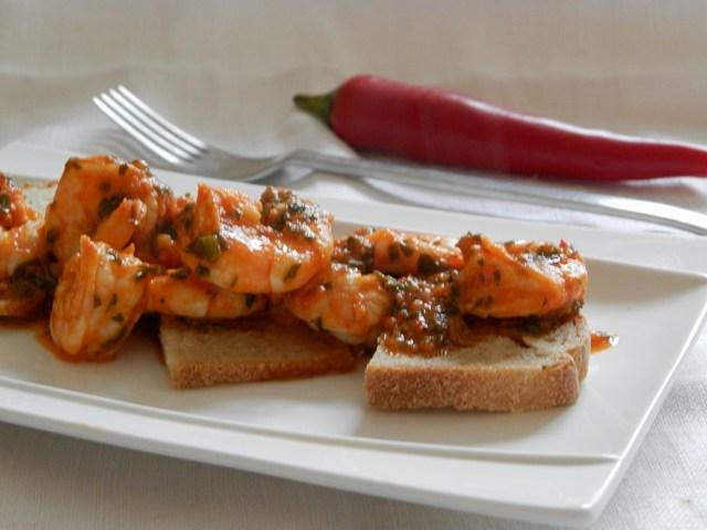 Gamberi all'aglio e peperoncino