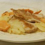 Arrosto di lonza con zucca e patate rosticciate