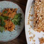 Polpettone di soia ai peperoni cruschi in crosta di fiocchi d'avena