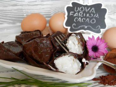 Tortelloni al cacao con ripieno di caprino e noci
