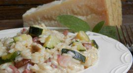 Risotto zucchine porcini e prosciutto crudo