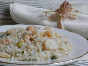 Risotto capesante e gamberi con granella di pistacchi