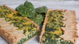 Torta salata topinambur e spinaci in crosta di briseé integrale