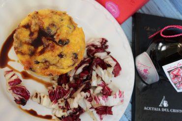 Sformatini di provola e radicchio rosso con Aceto balsamico Tradizionale di Modena D.O.P. ciliegio dell'Acetaia del Cristo