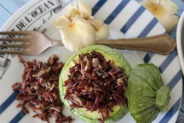 Zucchine tonde ripiene di riso rosso e pleurotus costa oro